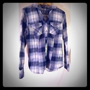 Ana plaid Western style button up blouse